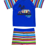 F – AG 3002 multi stripe shorts set
