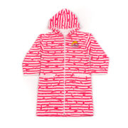 TOWELLING ROBE PINK DOLPHIN STRIPE
